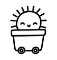 toy wagon on wheels with sun cartoon vector image