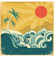 Vintage nature tropical seascape vector image