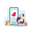 woman shopping online concept vector image