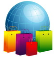 World globe with shopping bags vector image vector image