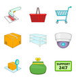 admission icons set cartoon style vector image vector image