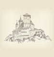 ancient castle landscape engraving tower building vector image vector image