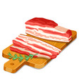becon slices with rosemary on wooden cutting board vector image vector image