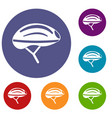 bicycle helmet icons set vector image vector image