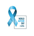 blue autism ribbon and date international autism vector image vector image