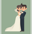 bride and groom cartoon character vector image vector image
