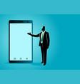 businessman presenting a blank screen smart phone vector image
