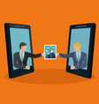 businessmen sharing an image photograph via vector image vector image