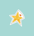cartoon star with crown sticker or pin design flat vector image vector image