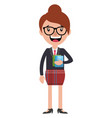 cheerful businesswoman holding some documents on vector image vector image