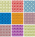 Colorful vintage tiles seamless patterns set vector image