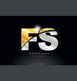 combination letter fs f s alphabet with gold vector image vector image