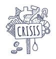 concept an economic crisis in cartoon vector image