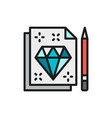 diamond sign sketch tattoo studio contract flat vector image