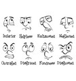 Eight different emotions of human being vector image