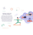 excited girl in virtual reality doing yoga vector image vector image