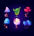 fantasy mushrooms or alien trees set magic nature vector image vector image