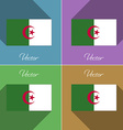 Flags Algeria Set of colors flat design and long vector image