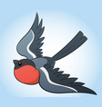 flying bullfinch cartoon vector image vector image