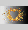 golden hearts confetti heart shape frame vector image