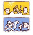 hand drawn cartoon characters - kids on beach sea vector image vector image
