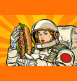 hungry woman astronaut with hot dog vector image