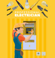 industrial tools and elictrician profession vector image vector image