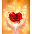 Love concept holding a red heart in hands vector image vector image