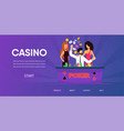 lucky man win money happy woman near casino table vector image vector image