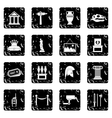 Museum set icons grunge style vector image vector image