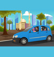 muslim family driving in a car vector image vector image