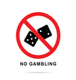 no gambling sign with black cubes vector image vector image