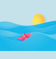 ocean water wave with origami made sailing boat vector image vector image