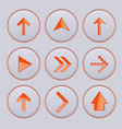 orange arrow on gray buttons 3d icons set vector image