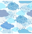 pattern with abstract clouds and raindrops vector image