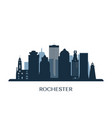 rochester skyline monochrome silhouette vector image vector image