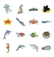 sea animals set icons in cartoon style big vector image vector image
