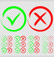 set green check mark ok and red x icons vector image