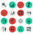 set of 16 authority icons includes project vector image vector image