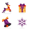 Set of 4 Christmas icons vector image