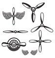 set of airplane propellers design element for vector image