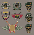 set of military emblems paratrooper skull with vector image