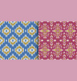 set seamless patterns with embroidery ethnic vector image vector image