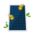 sollar batter and two cute sun beam characters vector image
