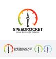 speed rocket logo design vector image vector image