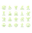 sprout simple green line icons set vector image vector image