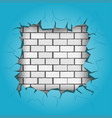 square hole in blue wall vector image vector image