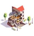 suburbian villa profile composition vector image vector image