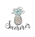 summer pineapple with sea water waves and text vector image vector image