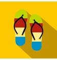 Summer slippers for beach icon flat style vector image vector image